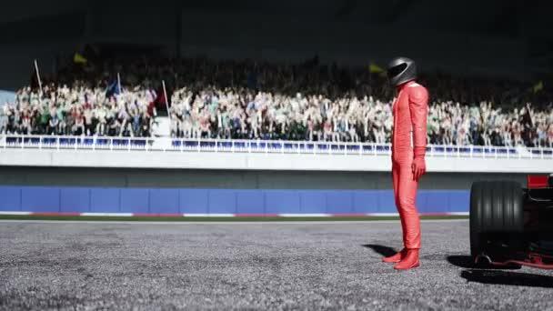 Závodník stojí na stadionu. Realistická animace 4k.