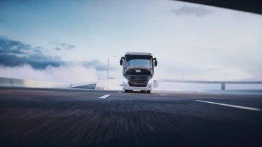 Otoyoldaki turistik yolcu otobüsü. Çok hızlı sürüyorsun. Turizm konsepti. 3d oluşturma.