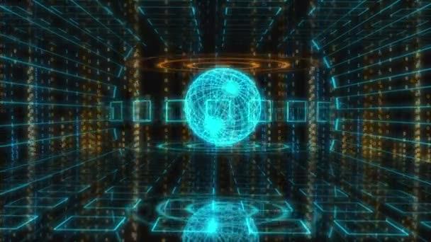 digitaler Bewegungshintergrund mit animierten Glanzquadraten, Linien und Kugeln