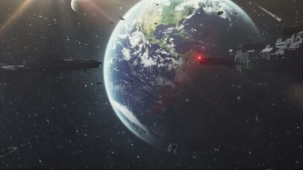 alien spaceships intrude on the earth. realistic 3d animation