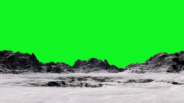 Mountain landscape. Fly realistic 3d animation. Green screen footage.