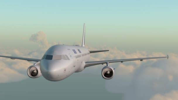 Passagier-Airbus A321 fliegt in den Wolken. realistische 3D-cg-Animation.