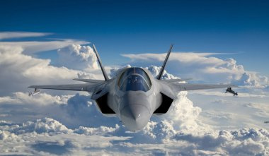 F 35 , american military fighter plane.Jet plane. Fly in clouds