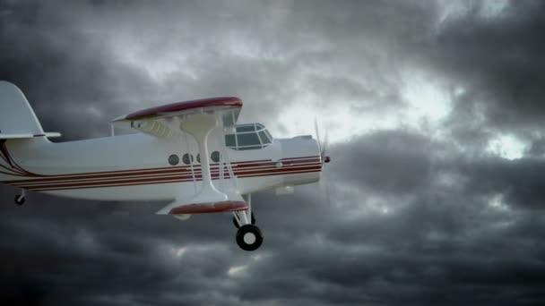 Az antonov An-2 bi-síkon repülni a rossz időjárás. Régi fehér retro sík. Reális fizika animáció, reális gondolatok és mozdulatok. A Solver globális megvilágítás render. Filmszerű felvétel