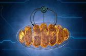 Nanorobot und Mitochondrium. Medizinischen Konzept anatomische Zukunft