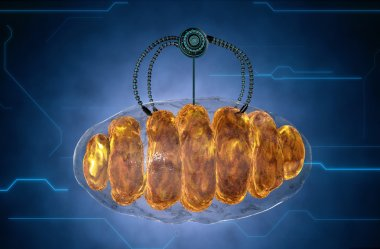 nanorobot and mitochondrion. Medical concept anatomical future.