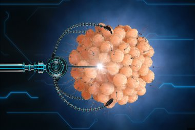 nanorobot fertilizes the cell egg. Medical concept anatomical future