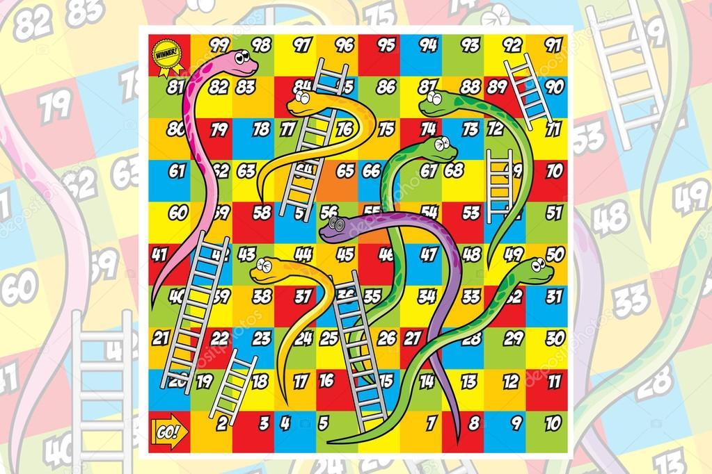Juego Escalera Y Serpiente Colorfull Archivo Imagenes Vectoriales