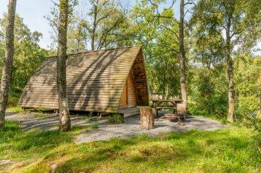 Wooden wigwam camp