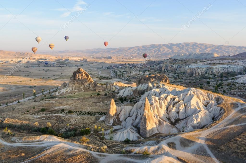 A group of hot air baloons