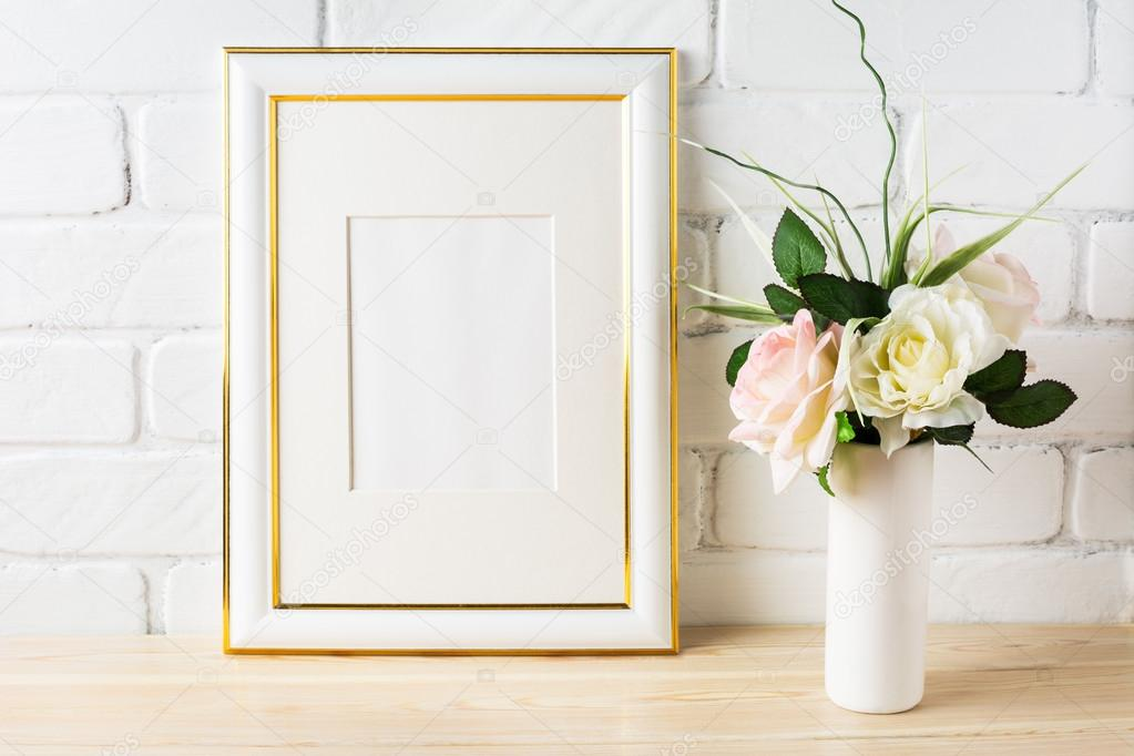 White Frame Mockup With Pale Pink Roses In Vase Stock Photo