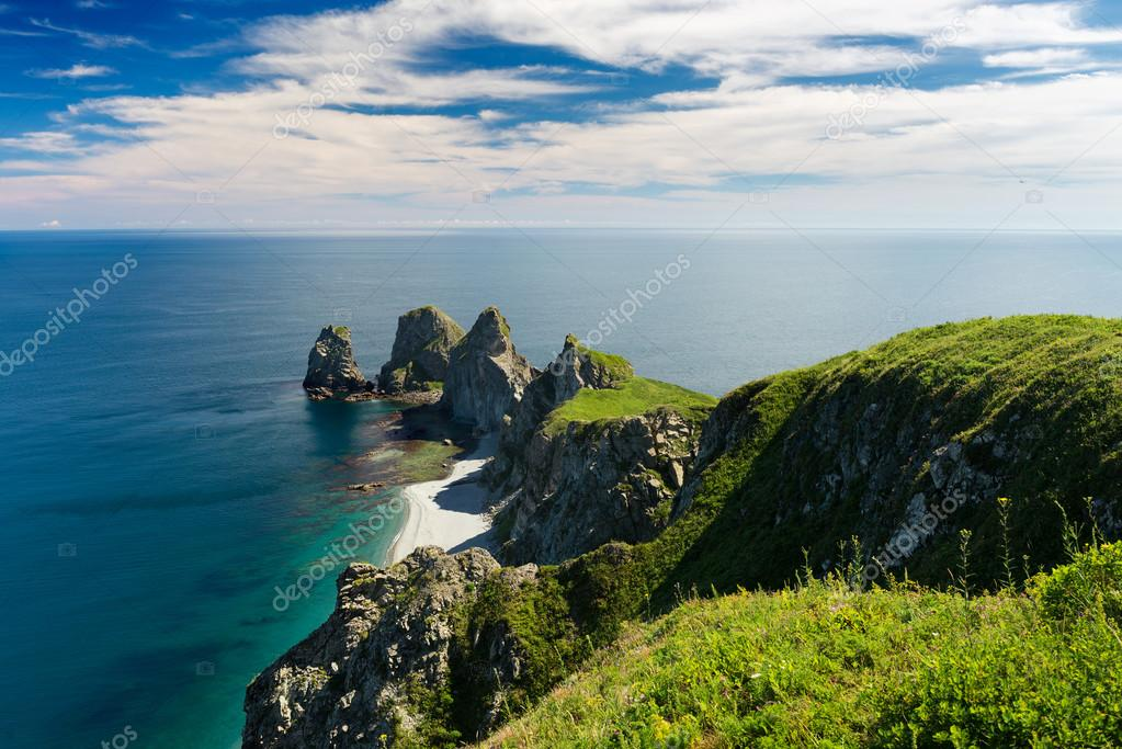 Cape by name Four cliff Russia Primorsky Krai.