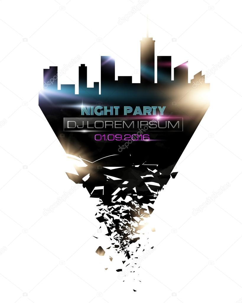 Noche Disco cartel fiesta fondo plantilla - ilustración vectorial ...