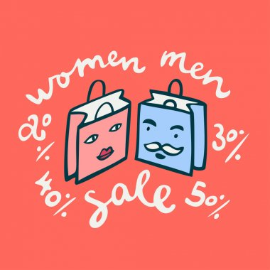 Men and women shopping bags with sale lettering.