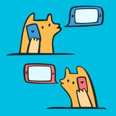 Lovers talking on smart phones.