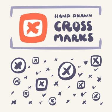Cross mark icon set.