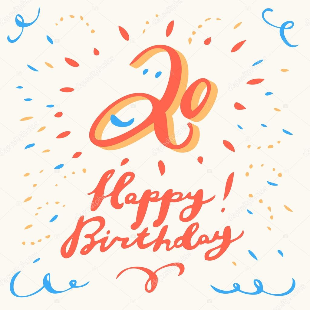 20th Happy Birthday Card Vector By