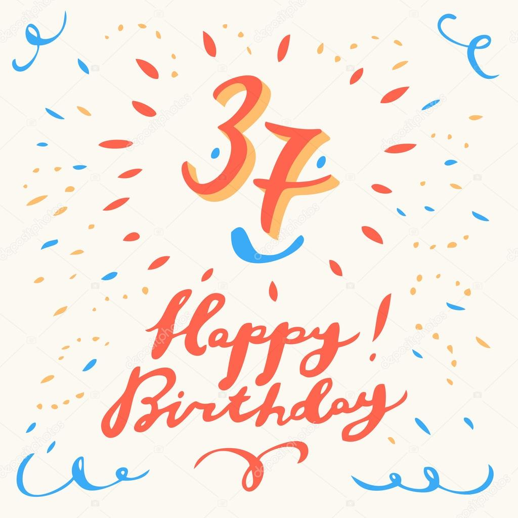 37th Happy Birthday Card Vector By