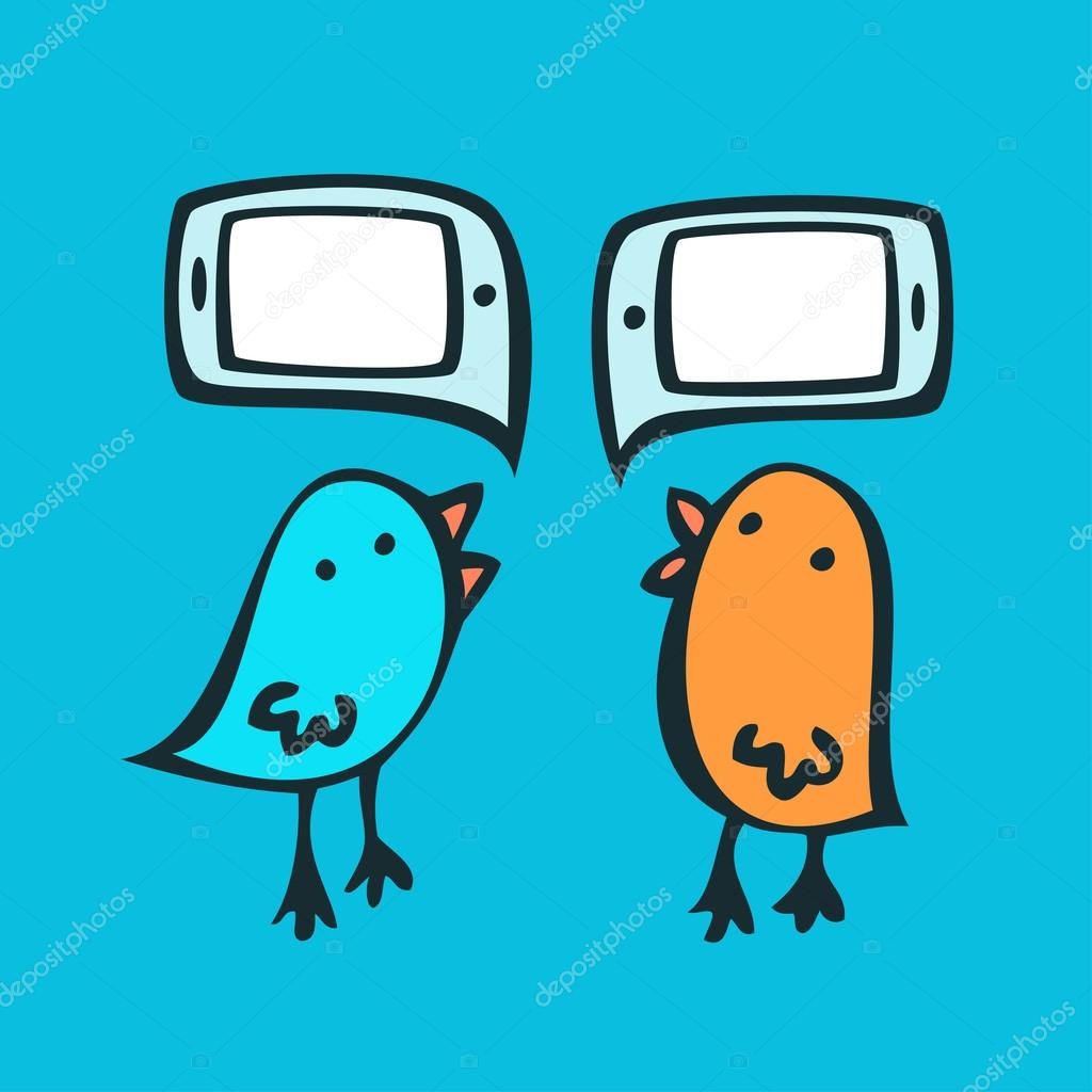 Birds and speech bubbles