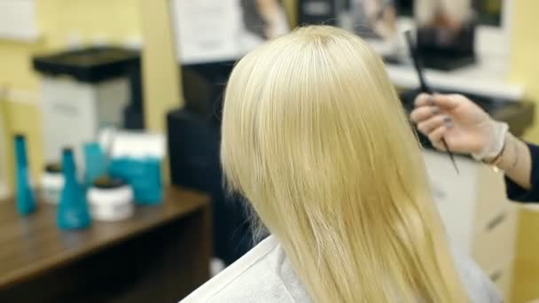 A hairdresser is combing a blonde
