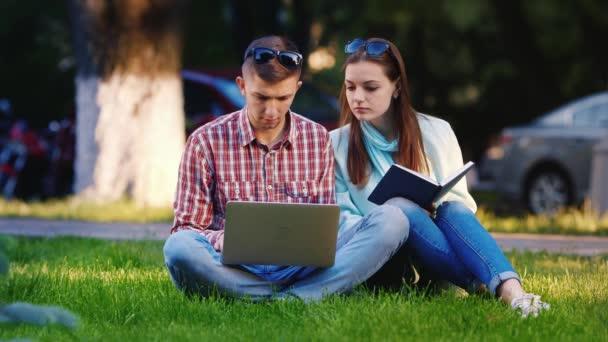 Přátelé muže a ženy sedící na trávě v parku, užívající si notebook. Na pozadí lidé chodí