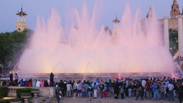 Barcelona, Spain - June 15, 2016: A crowd of tourists watching the show singing fountains
