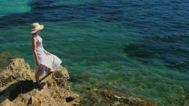 Kranich erschossen: Frau mit Hut bewundert das Meer. Freiraum für Titel