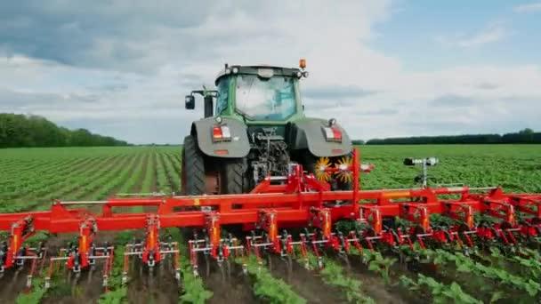 Steadicam létají kolem shot: táhne traktor na poli, zemědělské mechanismu, plení rostlin