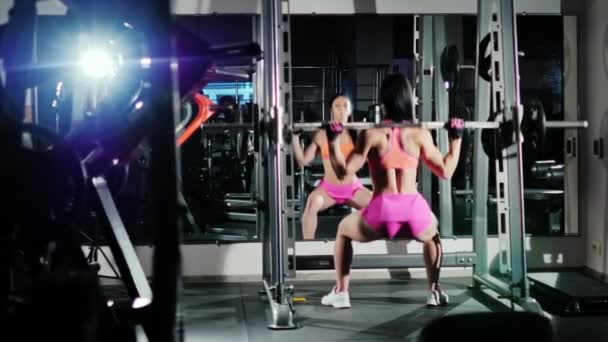 Athletic woman squats with a barbell. Motivation in sport. Back view