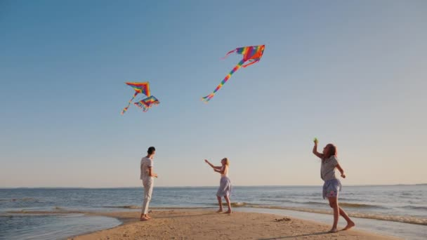A happy young family with a child play kites together on the beach. Summer holidays