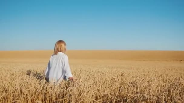 A young woman walks between endless wheat fields