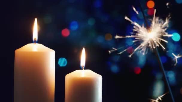 Christmas candles, lit sparkler