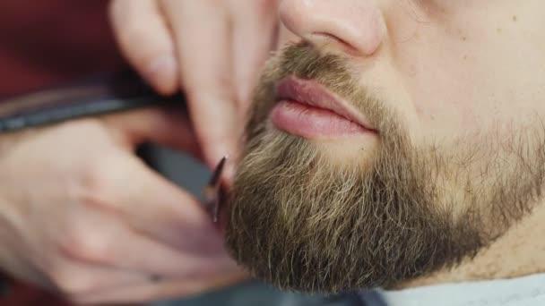 Mens acconciatura e taglio di capelli in un salone di capelli o negozio di barbiere. Governare la barba. Negozio di barbiere. Parrucchiere uomo che fa di uomini adulti di barba di taglio di capelli nel salone di capelli degli uomini. Parrucchieri a lavoro