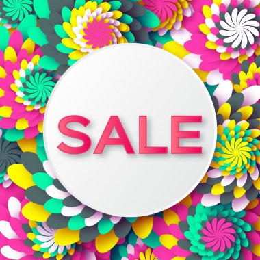 Abstract Spring Summer Sale colorful banner for business. Applique Card with origami flowers. Offers message. Trendy Design Template. Vector illustration.