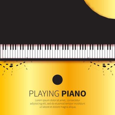 Golden foil Top view Grand piano