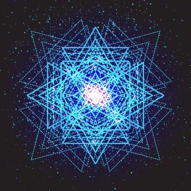 Magic neon blue geometry sign