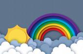 Sun and rainbow. Summer paper cut style. Sky cloud.