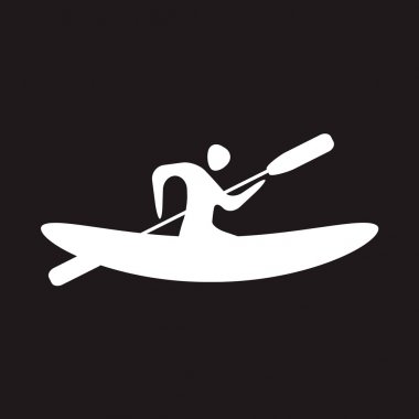 Kayak and paddle square icon. Vector illustration of Outdoor activities elements - kayak and rowing oar. Kayak isolated, sea kayak stock vector