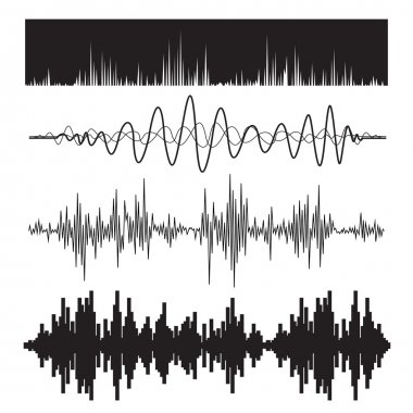 Vector music sound waves set. Audio sound equalizer technology, pulse musical. Vector illustration stock vector
