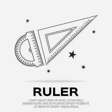 Ruler icons. Ruler symbols. Office Supply Objects. Flat Vector illustration. clip art vector