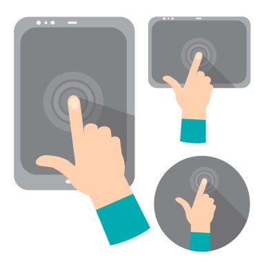 Concept of hands holding digital tablets