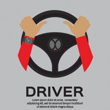 Driver design element with hands holding steering wheel. Vector illustration. stock vector