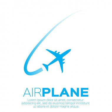 Airplane top view symbol. Vector Illustration design. Travel background stock vector