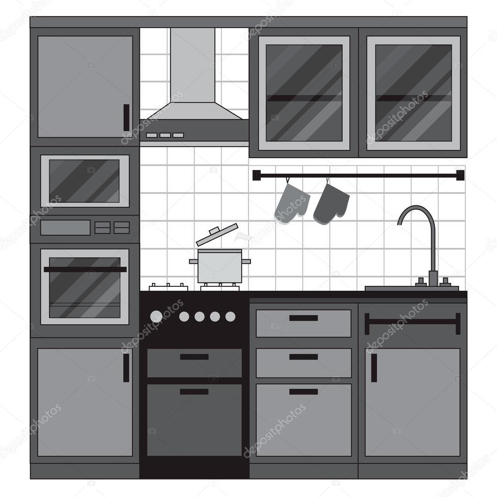 cucina interior design — Vettoriali Stock © mash3r #86715472
