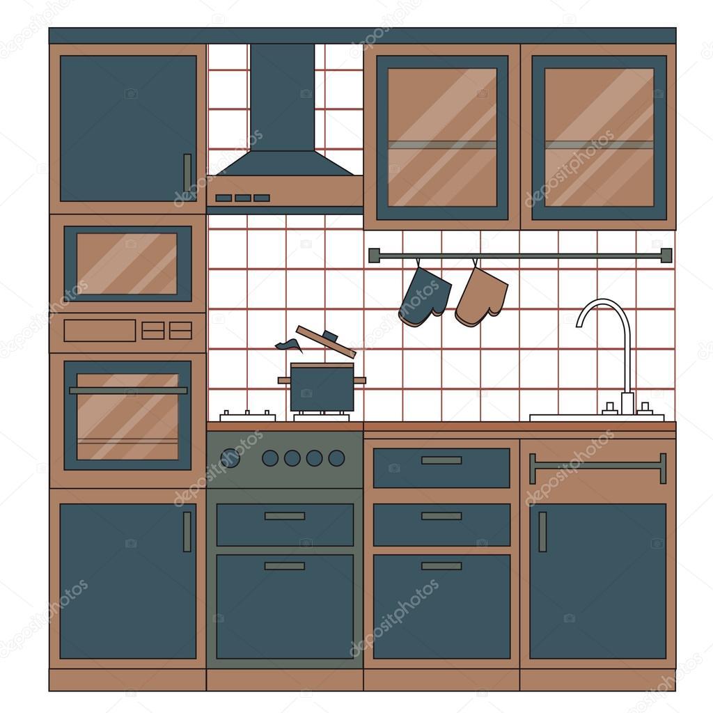 cucina interior design — Vettoriali Stock © mash3r #86715572