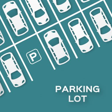 Top View Parking lot design - - cut from paper concept. Many cars parked. Vector illustration - eps10 clip art vector