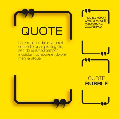 Quote bubble. Empty Citation text box template. Quote blank. stock vector