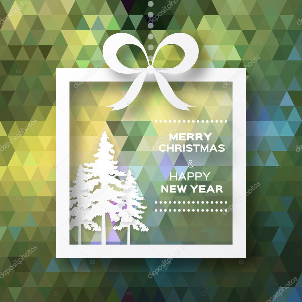 View of white christmas trees on polygonal background.