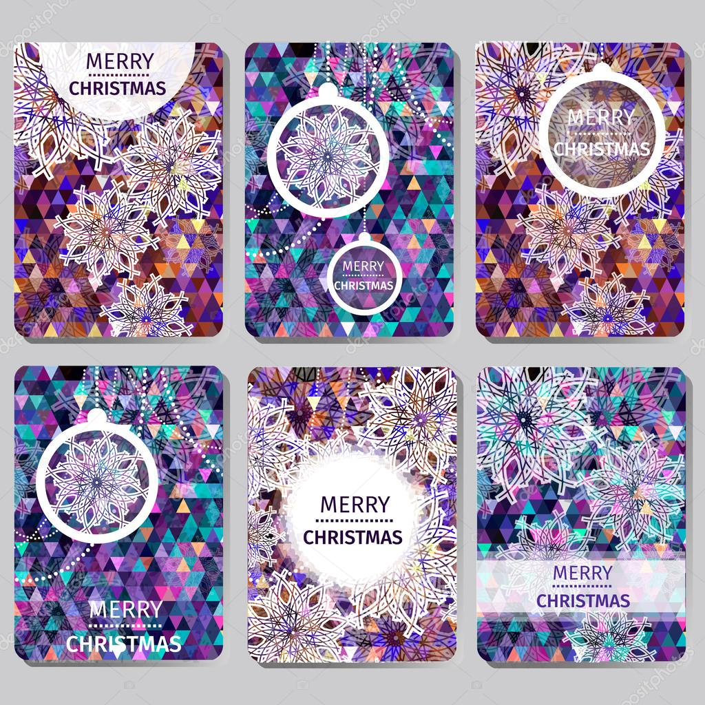 Set of 6 Colorful Merry Christmas and Happy New Year polygonal background