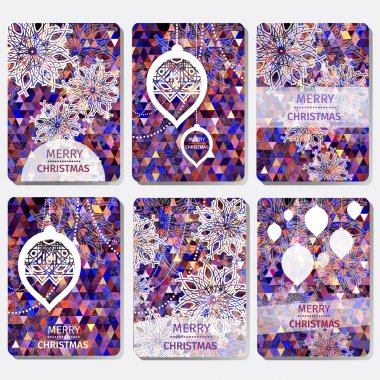Set of 6 Colorful Merry Christmas and Happy New Year polygonal background with snowflakes